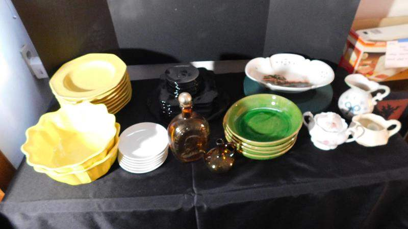 Lot # 86- Many different colored plate sets (yellow, green, white) saucers, bowls, pitcher.  (main image)