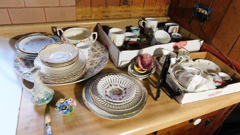 Lot # 89- King Edward cup, Glass dish sets, plates, cups, and saucers (main image)