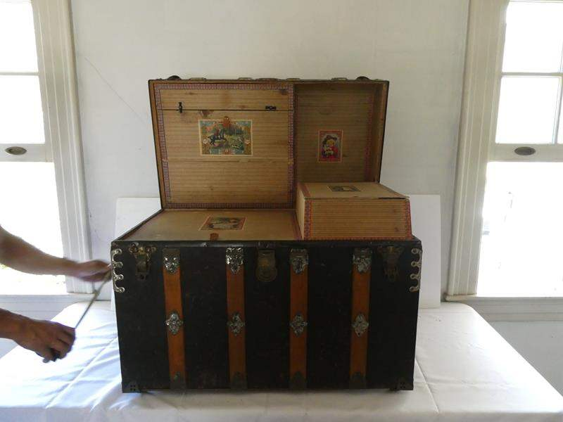 Lot # 144-Antique Estate dome top steamer trunk chest (main image)
