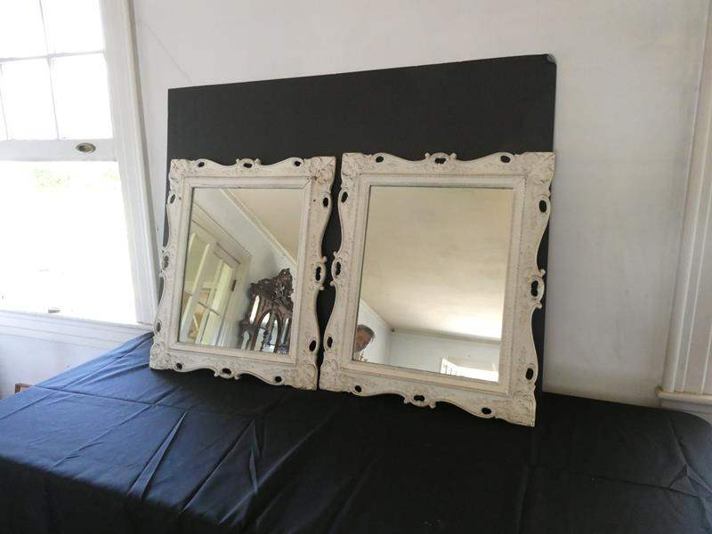 Lot # 147- two white victorian looking mirror set (main image)