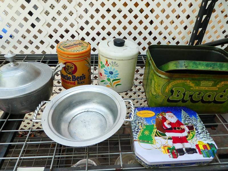 Lot # 408-Vintage kitchen canisters and unique kitchen pots (main image)