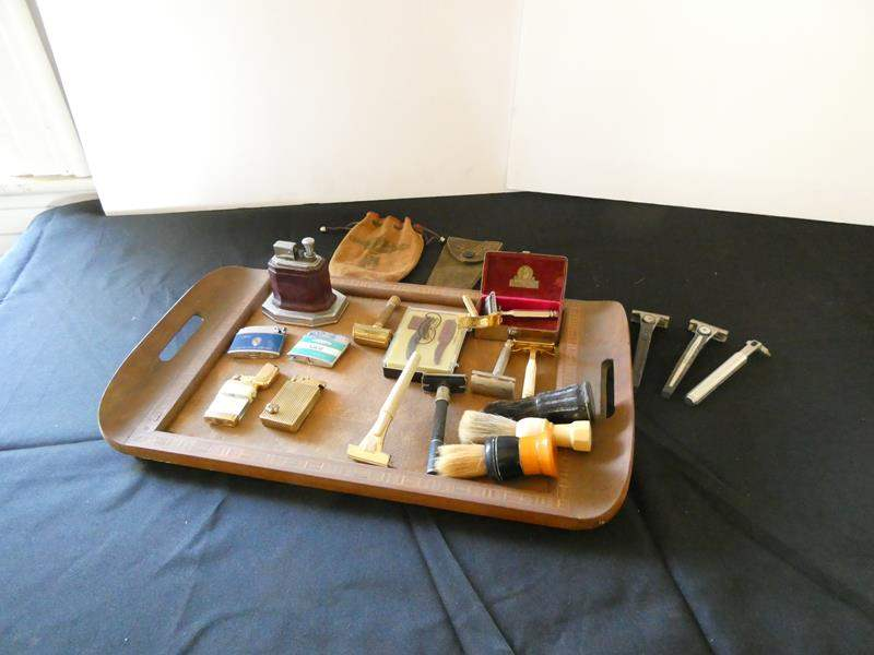 Lot # 156- Vintage shaving items | Cigarette lighters, tray, and more (main image)