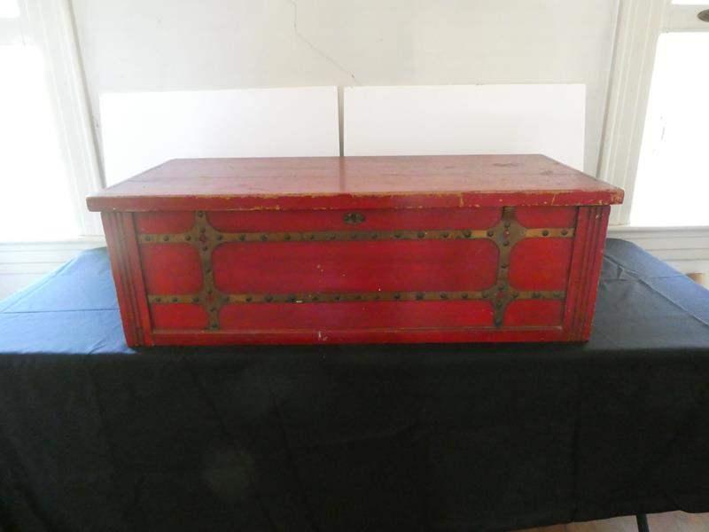 Lot # 158- Red antique cedar hope chest (main image)
