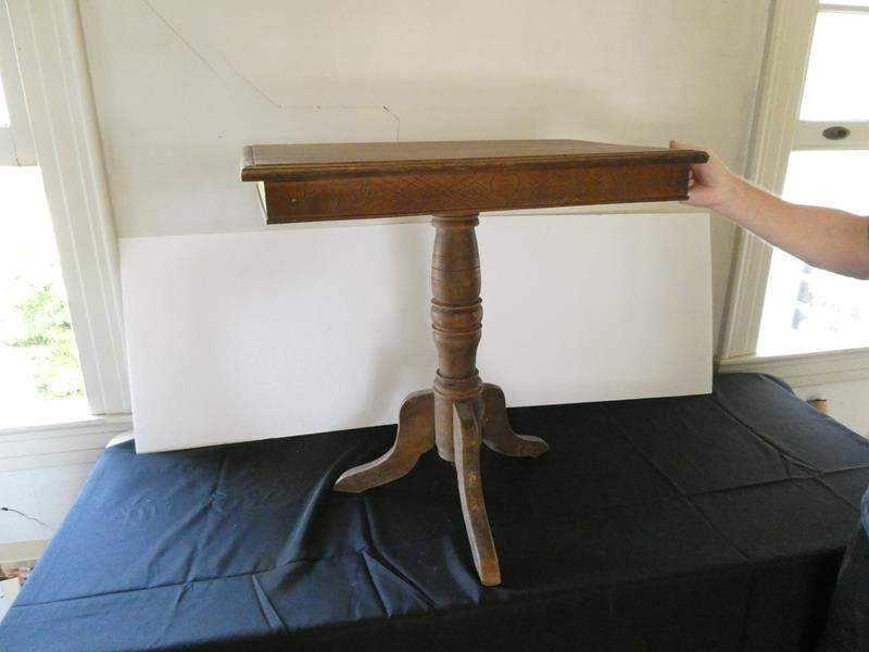 Lot # 161- Antique wood side table (main image)