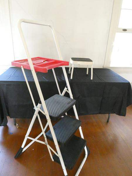 Lot # 168- Large 3 tier step ladder and small step stool (main image)