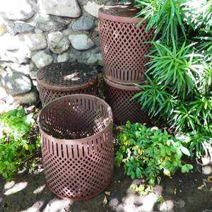 Auction Thumbnail for: Lot # 421- 4 Metal baskets/ planters and 3 iron plant stands