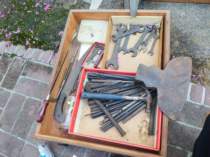 Lot # 431- Vintage tools- Drawer full- Drawer #1 (main image)