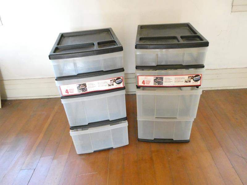 Lot # 171- 2 Plastic 4 drawer storage containers (main image)