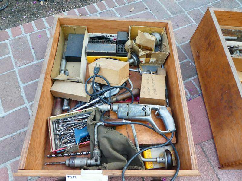 Lot # 437- Vintage tools- Drawer #7 Drawer full- Drill (main image)