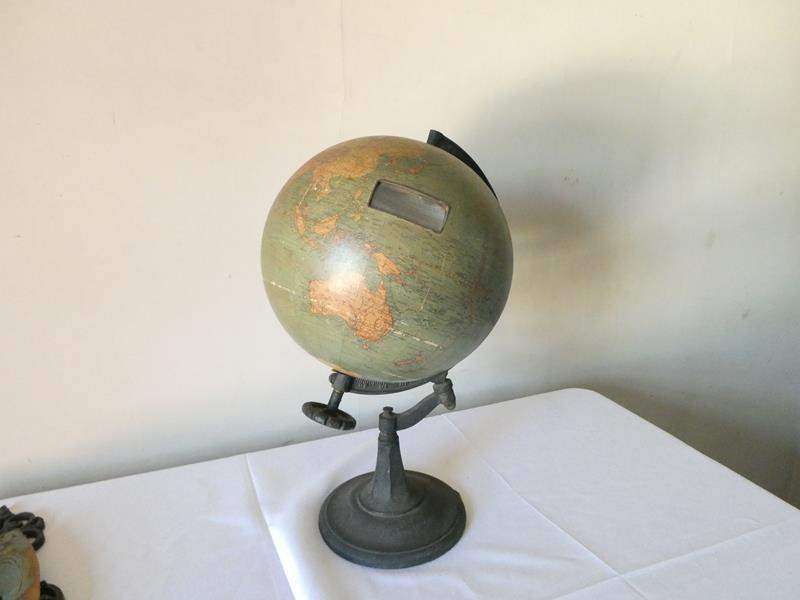 Lot # 174- Antique globe with metal base (Chas. M. Williams index globe) (main image)