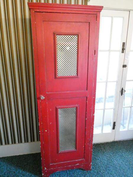Lot # 179- Antique red locker or armoire  (main image)