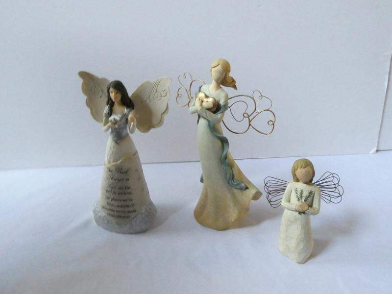 Lot # 100-Willow Tree wood angel and 2 ceramic angels (main image)