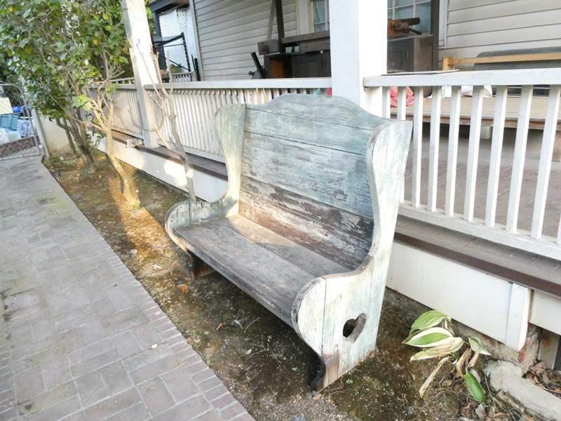 Lot # 477- Antique wood bench (main image)
