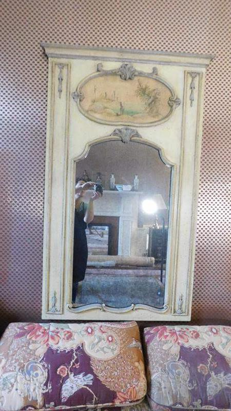 Lot # 44- Vintage mirror with embellished art (main image)