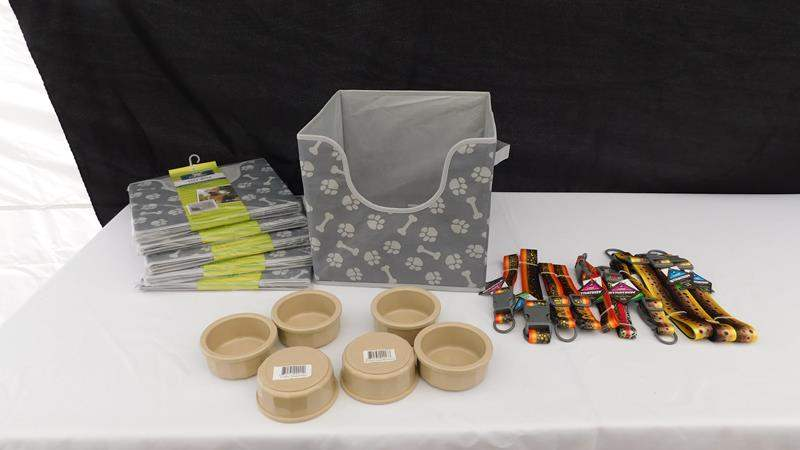 Lot # 24 - Pet supplies | 6 folding Pet Toy box cubbies, 6 feeding bowls, and 10 Collars. (main image)