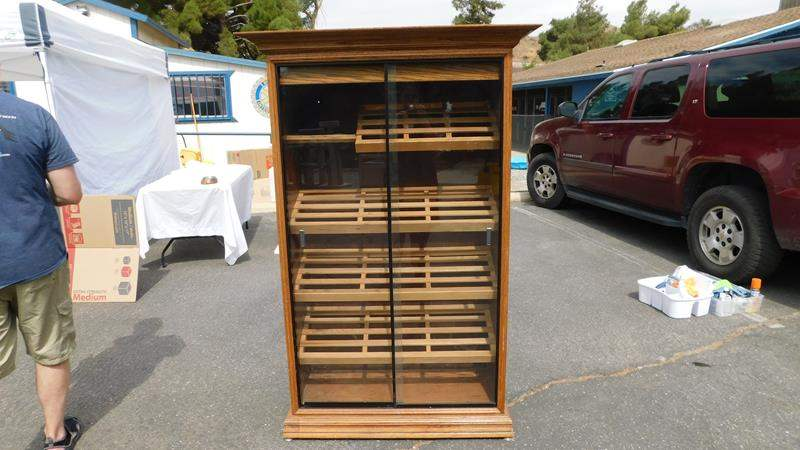 Lot # 49 - Pharmacy humidor from the 60's.  Oak cabinet- solid and heavy! (main image)