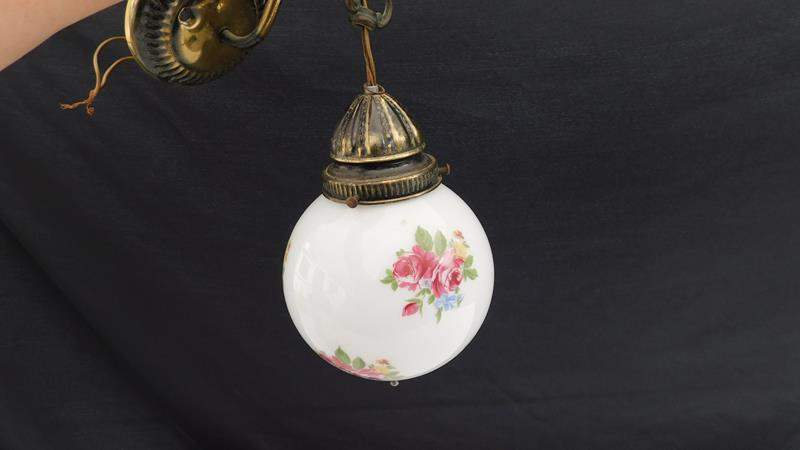 Lot # 55 - Vintage Floral light fixtures: 1 large, 1 small (main image)
