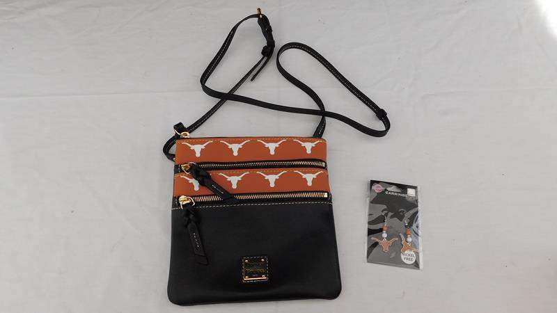 Lot # 85 - Doone & Bourke hand bag | ear rings | Texas long horns (main image)