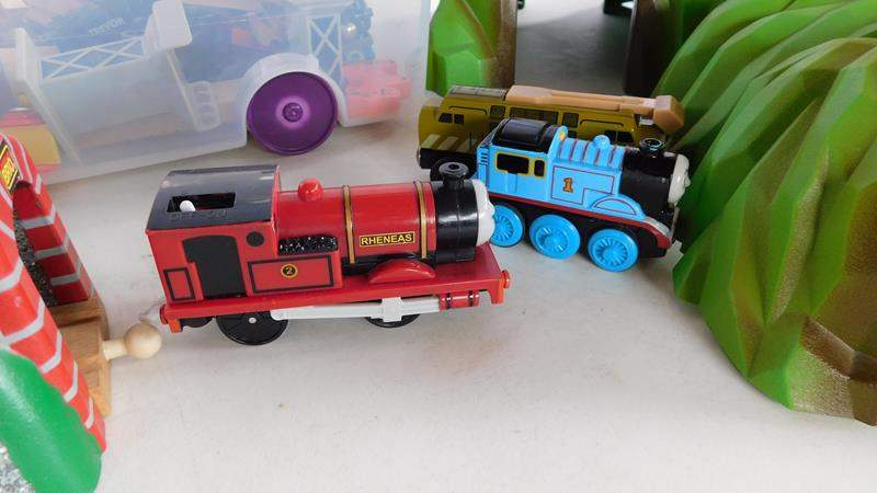 Lot # 92 - Thomas train track set! 2 tubs full of all accessories (main image)