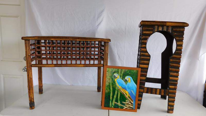 Lot # 101 - Wicker end tables and original oil painting (main image)