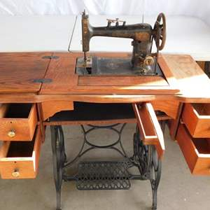 Auction Thumbnail for: Lot # 103 - Antique sewing machine in sewing stand/ table