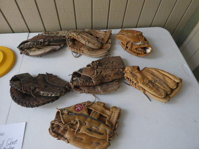 Lot # 400 - Frisbee and baseball glove collection (main image)