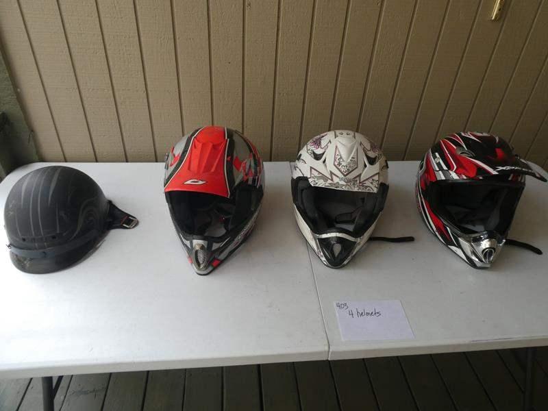 Lot # 403 - 4 motorcycle helmets (main image)