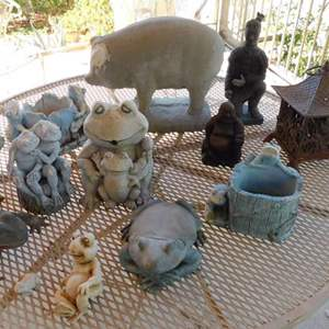 Auction Thumbnail for: Lot # 405-Yard art, frogs, cement pig, little buddha and soldier
