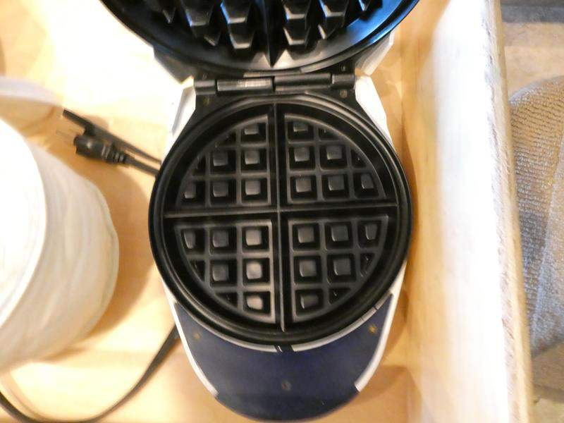 Lot # 2- Electric Kitchen items/ Waffle iron/  and dishes (main image)