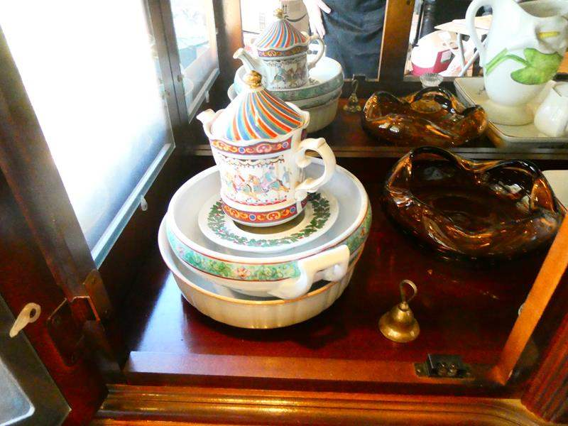 Lot # 10- Decorative glassware set with pitchers, dishes, and serving ware.  (main image)