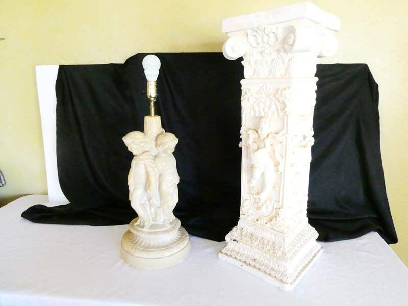Lot # 17- Roman Pillar / Cherubic stand lamp (main image)