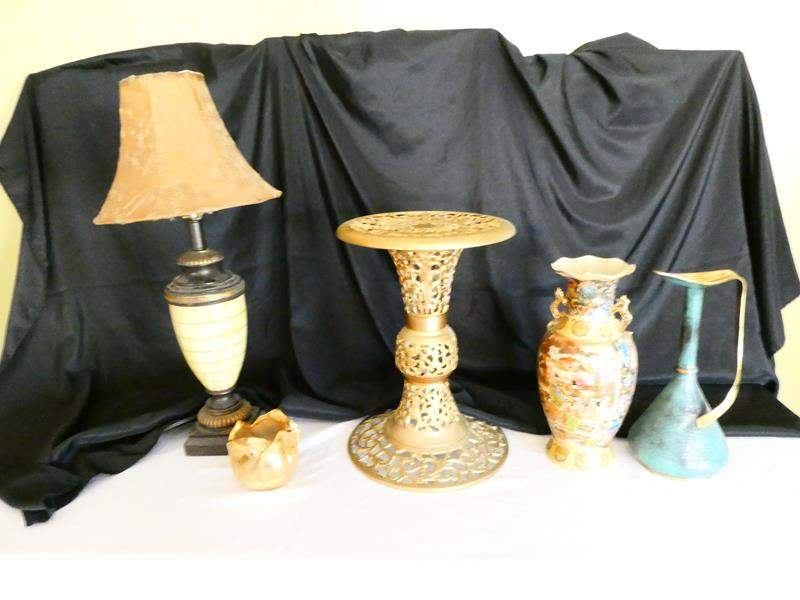 Lot # 21- Stangle Tulip pottery- 22K Gold plated, Antique Turkish Pitcher look at all pics (main image)