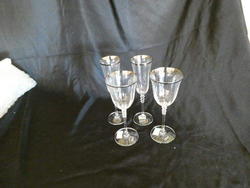 Lot # 24- Mikasa champagne and goblet glasses (new) (main image)