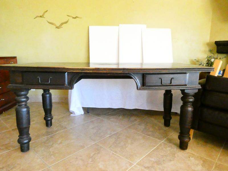 Lot # 32- Distressed black desk/ sofa table with drawers (main image)
