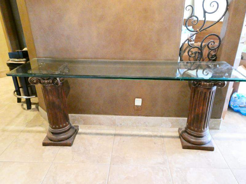 Lot # 40- Glass top sofa table (main image)