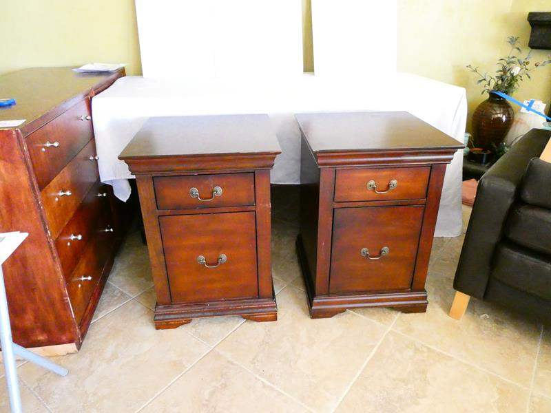 Lot # 41- Cherry solid wood filing cabinets (main image)