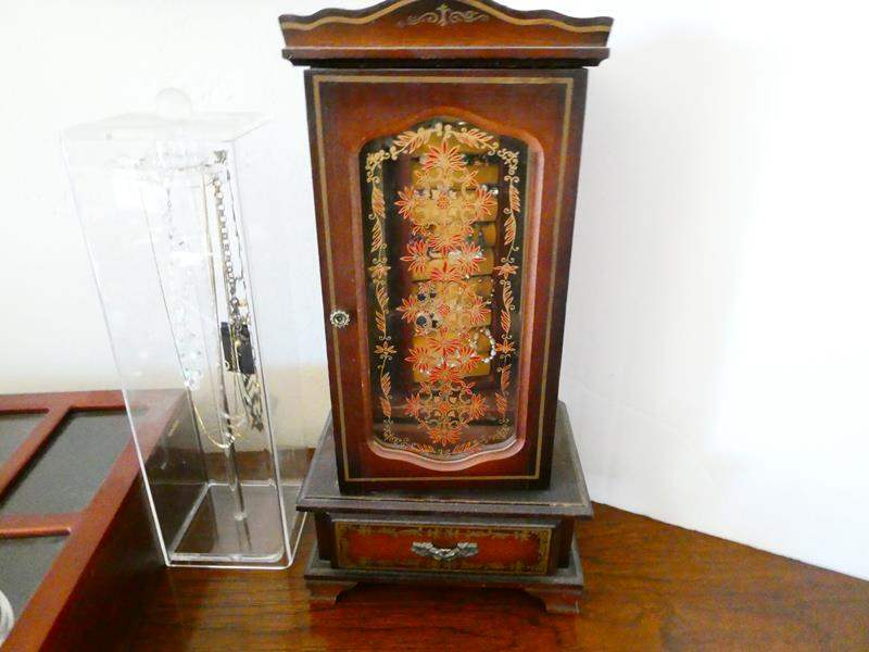 Lot # 56- Costume jewelry box with jewelry- possibly some treasures! (main image)