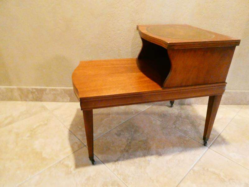 Lot # 57- Vintage/ Mid century two tiered end table (main image)