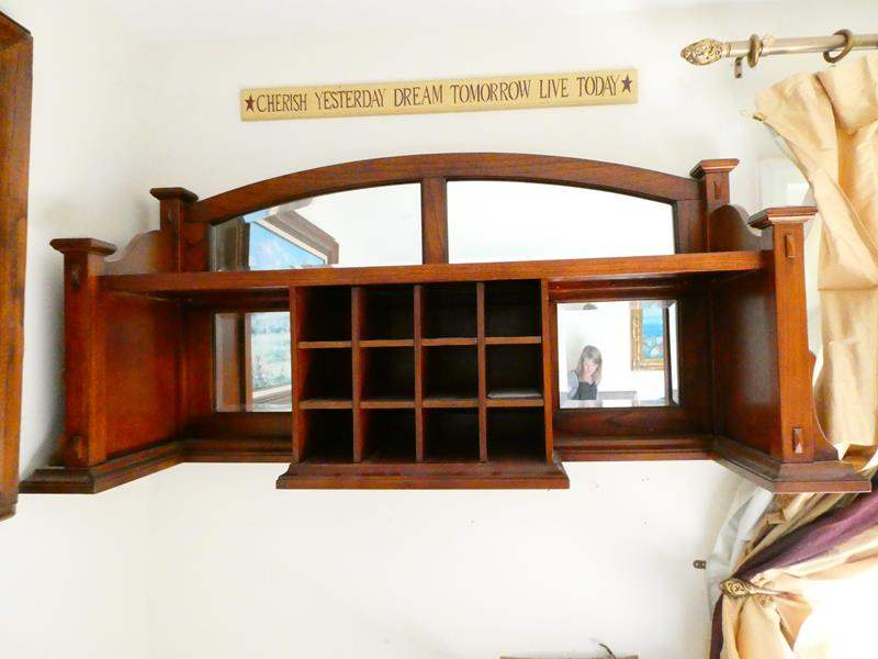Lot # 60- Wooden hanging shelving unit (main image)