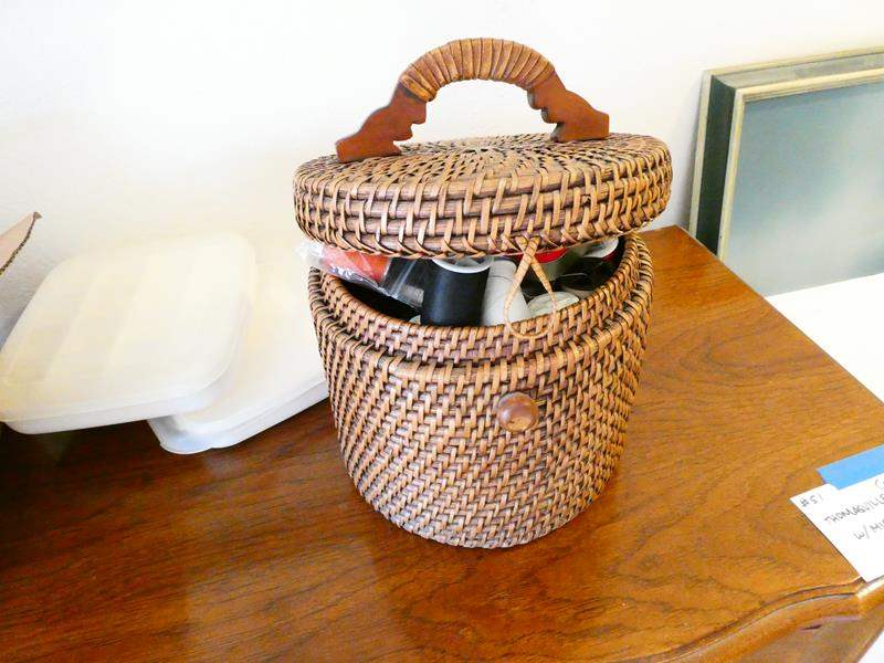 Lot # 65- Vintage sewing basket with supplies (main image)