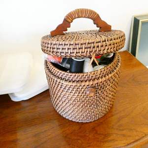 Auction Thumbnail for: Lot # 65- Vintage sewing basket with supplies