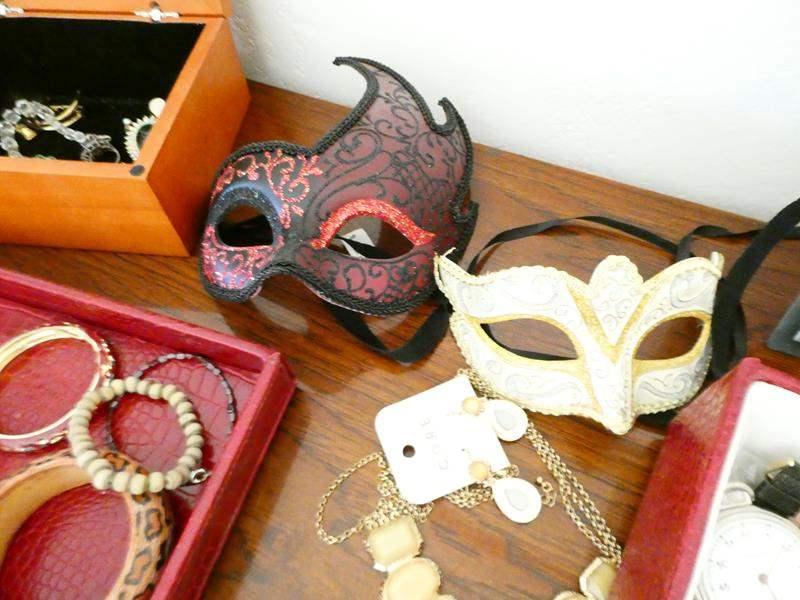 Lot # 69- Costume Jewelry, masquerade masks, & cute fold up box (main image)