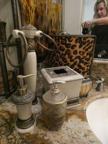 Lot # 75- Bathroom Décor/ Over toilet storage with glass shelves  (main image)
