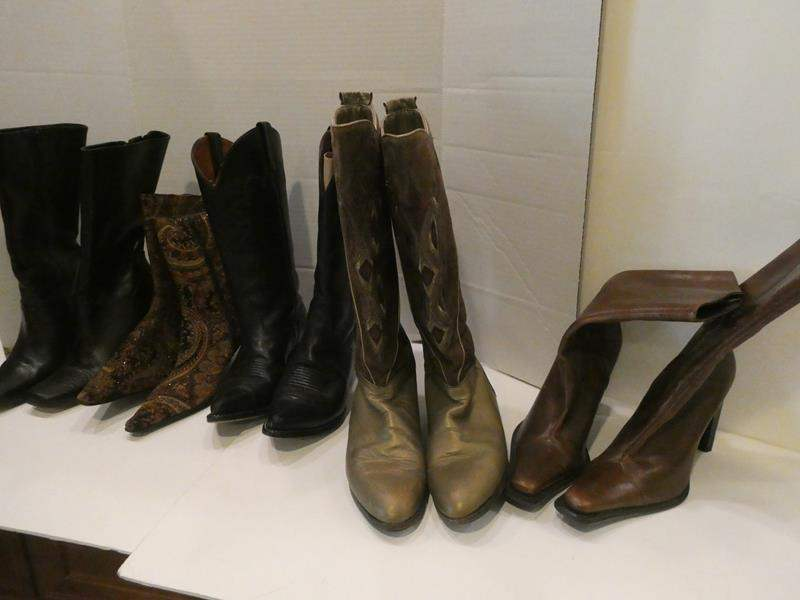 Lot # 76- Salvatore Ferragamo boots made in Spain Stylish boots! 5 pairs- some almost new- size 7-9 (main image)