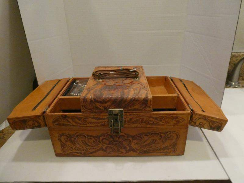 Lot # 84- Vintage leather cosmetic box (main image)