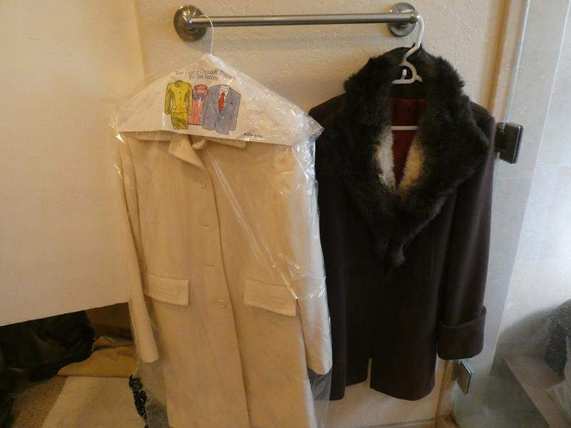 Lot # 85- Two beautiful vintage coats- cream and brown (main image)