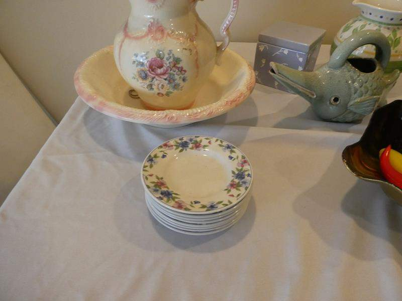 Lot # 90- Wash basin with matching pitcher and bonus items (main image)