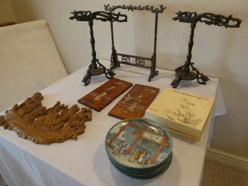 Lot # 91- Chinese Huali Rosewood Dragon head pen display rack/ authentic collectible plates (10) (main image)