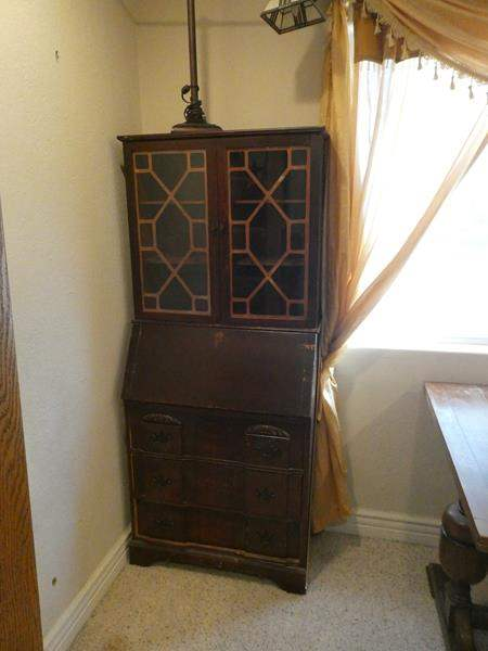 Lot # 97- Vintage secretary desk with chest of drawers and vintage lamp (main image)