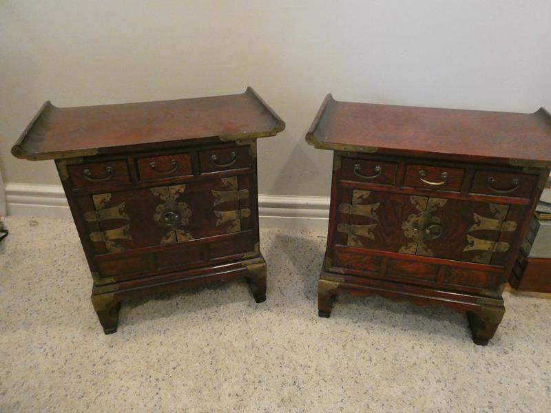 Lot # 98- TWO vintage Chinoiserie nightand with brass hardware (main image)